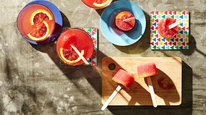Refresh your guests with Aperol spritz with blood orange pops. This ultra-easy taste sensation will rock your party planning world. Recipe from Alice Storey and Georgi Larb of Pure Pops.