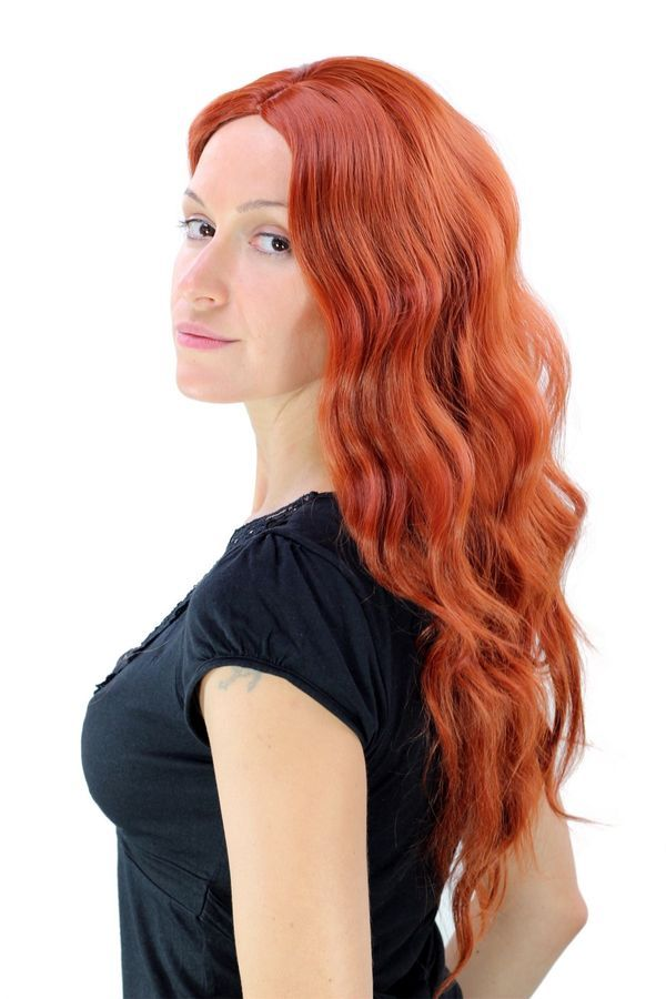 Wig Women s Sexy Bright Red Middle Part Wavy Irish YZF-4072 Sexy Bright 37deabcd4c
