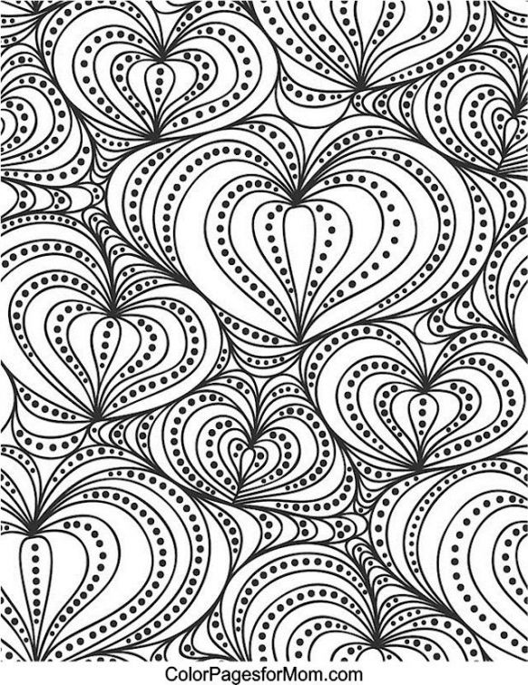 Abstract Heart Doodle In Hard Coloring Page For Grown Ups Printable