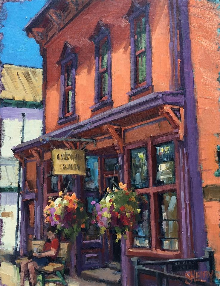 """Hanging Out at the Old Hotel"" 18 x 14, plein air oil, by Shelby Keefe, a featured artist in the March issue of Southwest Art Magazine. ""I will be on the cover. The image they picked is a piece I painted in Crested Butte last July."""