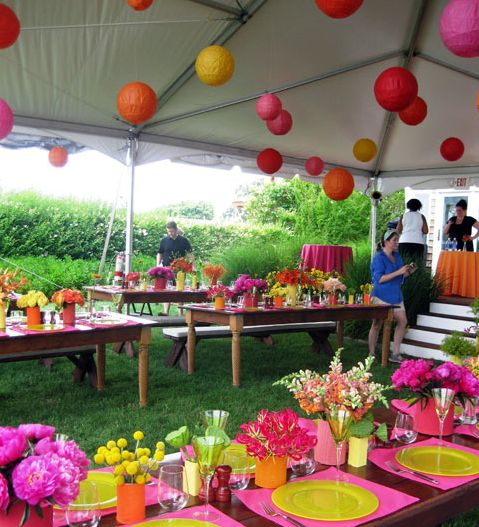 Colorful party tent ideas.  (Paper Lanterns by Luna Bazaar.  Flowers by Lilee Fell Flowers.)
