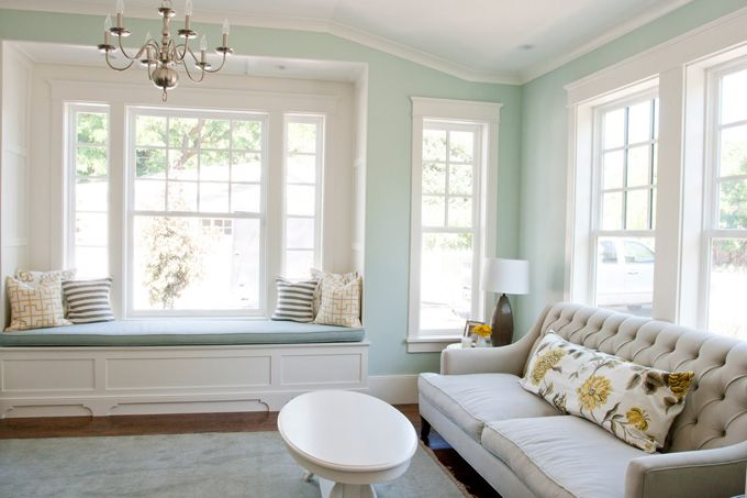 Love the paint colorWall Colors, Living Rooms, Blue Wall, Windows Seats, Palladian Blue, Painting Colors, Benjamin Moore, Window Seats, Windows Shades