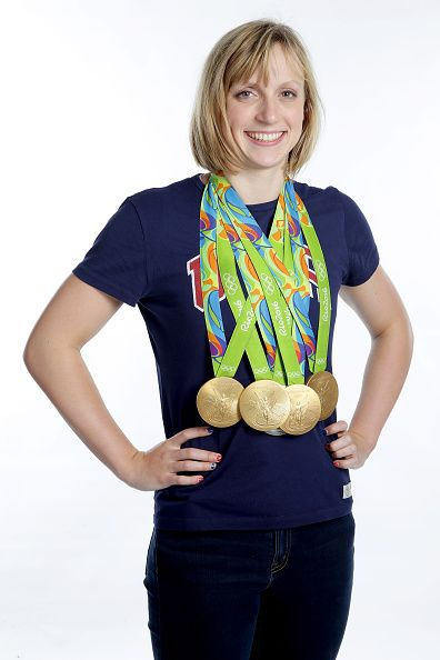Swimmer Katie Ledecky of the United States poses...