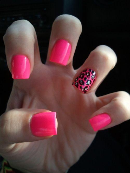 Nail love... summer nails. Minus the ugly cheetah print. Im so over animal print.