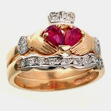14k Yellow Gold Ruby & Diamond Claddagh Engagement Ring & Wedding Ring Set