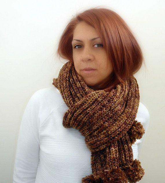 Brown handmade knitted scarf with pom pom unisex chunky by Kikoa, $47.00
