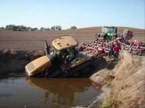 Opps! Tractors getting stuck in the mud, and literally crashing into someone's living room.