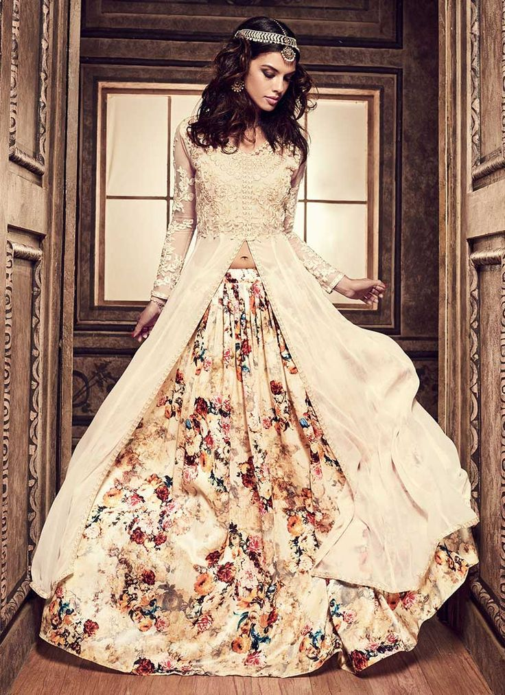 Buy Cream Umbrella Long Choli Lehenga online from the wide collection of umbrella-lehenga.  This Cream colored umbrella-lehenga in Net | Faux Georgette fabric goes well with any occasion. Shop online Designer umbrella-lehenga from cbazaar at the lowest price.