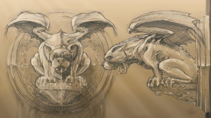 Concept artwork sketch of gargoyle sculpture for FergBaker in Queenstown NZ.