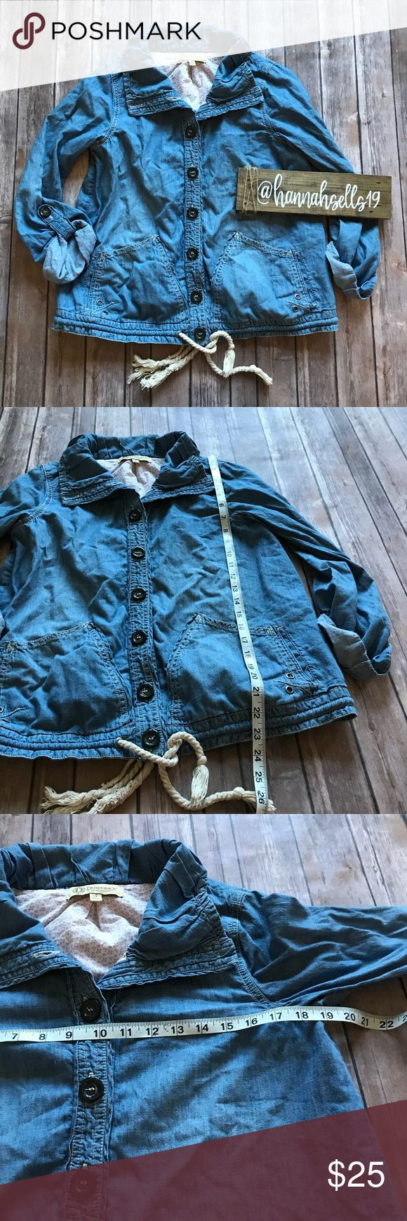 Democracy Chambray Jacket Size Small Like new cute Button Down lightweight jacket from Democracy. This would be perfect for Fall or Spring and can be Layered with any outfit! Democracy Jackets & Coats