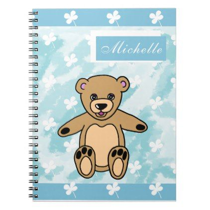 #Cute Brown Teddy Bear on Blue with Clovers Name Notebook - #giftideas for #kids #babies #children #gifts #giftidea
