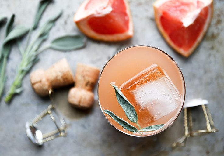 Grapefruit & Sage Champagne Cocktail Simple Syrup 1:1 sugar:water 2 ...