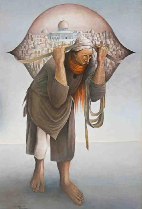 JAMAL ALMAHAMEL-SULIMAN MANSOUR Верблюды лишений, 1973, холст, масло, 152 х 98 см.