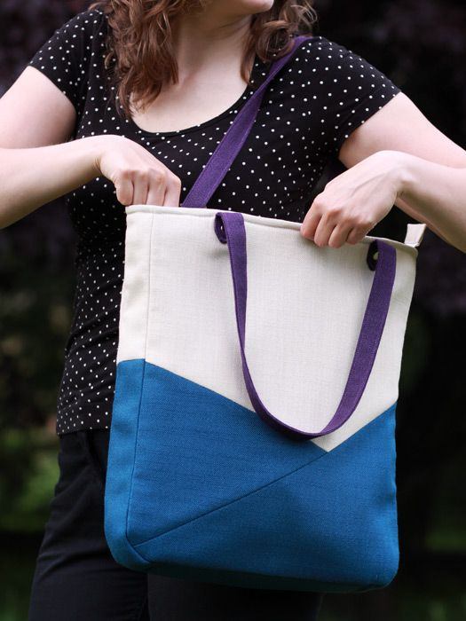 Large tote bag, asymmetric, handmade bag