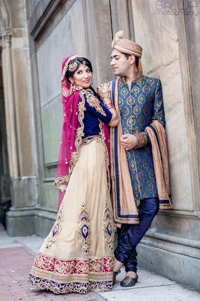 stunning! beautiful combination of his sherwani and her lengha