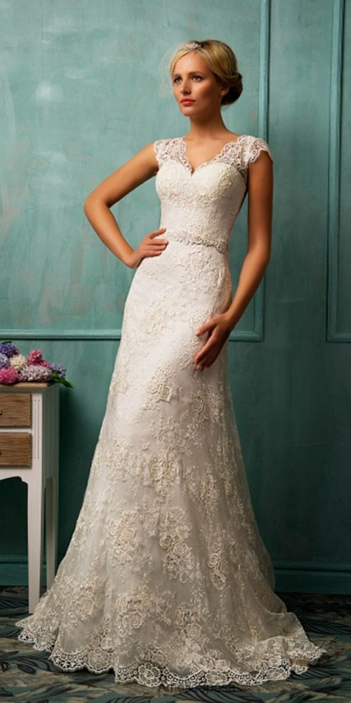 Featured wedding dress designer Amelia Sposa. We love this lace bridal gown ❤.  Visit WeddingForward.com for more wedding dresses & wedding dress shopping advice. #laceweddingdresses #AmeliaSposa  #lacebridalgown