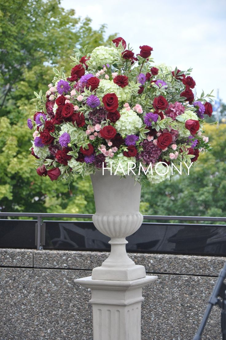 Ceremony arrangement #roses #dahlias #hydrangeas