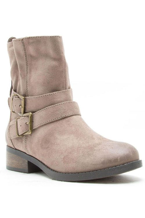 Reno Buckled Ankle Boots - Taupe