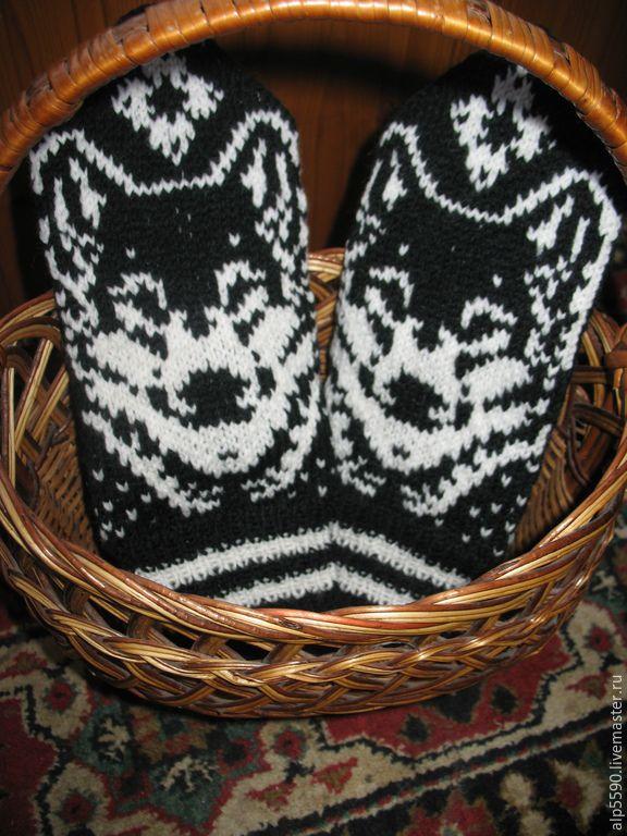 Купить Варежки мужские Волк - варежки, варежки ручной работы, варежки вязаные, варежки из шерсти