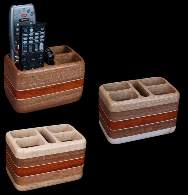 David Levy's Hardwood Creations are at it again with this super useful, beautiful remote control holder! Holds 4 remotes, with a slot for cell phones too!
