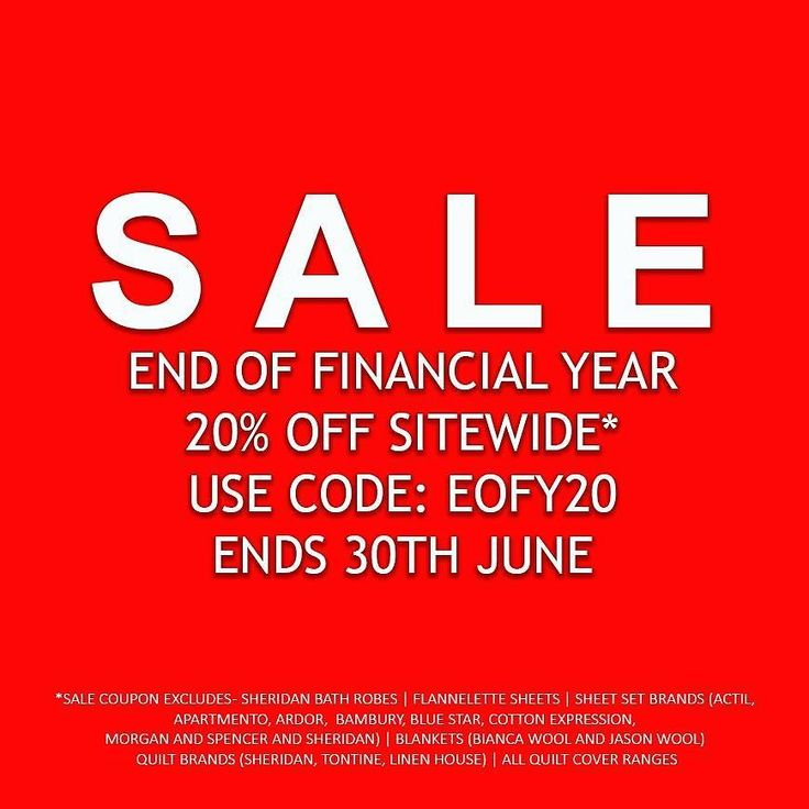 SALE SALE SALE  20% OFF STOREWIDE | USE COUPON: EOFY20  Start your shop now at http://ift.tt/1IQoQJz  SALE COUPON INCLUDES: BATH TOWELS BATH ROBES SHOWER CURTAINS BEDSPREADS BLANKETS COMBO SETS COMMERCIAL LINEN COVERLETS EUROPEAN PILLOWCASES FITTED SHEETS FLAT SHEETS MATTRESS PROTECTORS MATTRESS TOPPERS PILLOWCASES PILLOW PROTECTORS PILLOWS PURADOWN FEATHER QUILTS SHEET SETS VALANCES WOOL UNDERLAYS TABLECLOTHS TEA TOWELS BEACH TOWELS COUCH COVERS AND PROTECTORS CUSHIONS AND THROWS SALE…