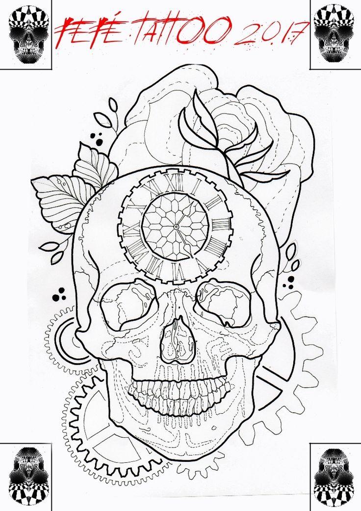 memento mori, a momenti mori, skull clock and rose
