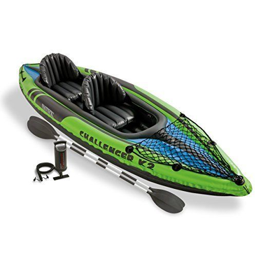 Intex Explorer K2 Kayak, 2-Person Inflatable Set w/ Aluminum Oars High Air Pump #Intex