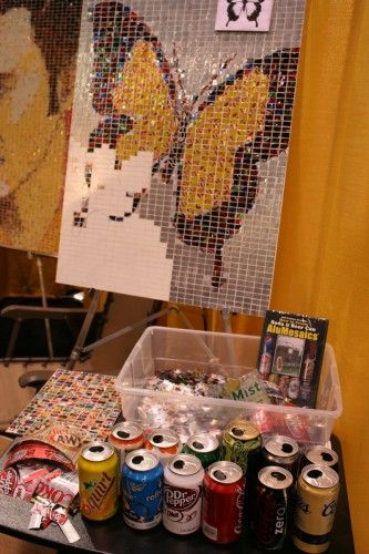 Mosaics made from aluminum cans.