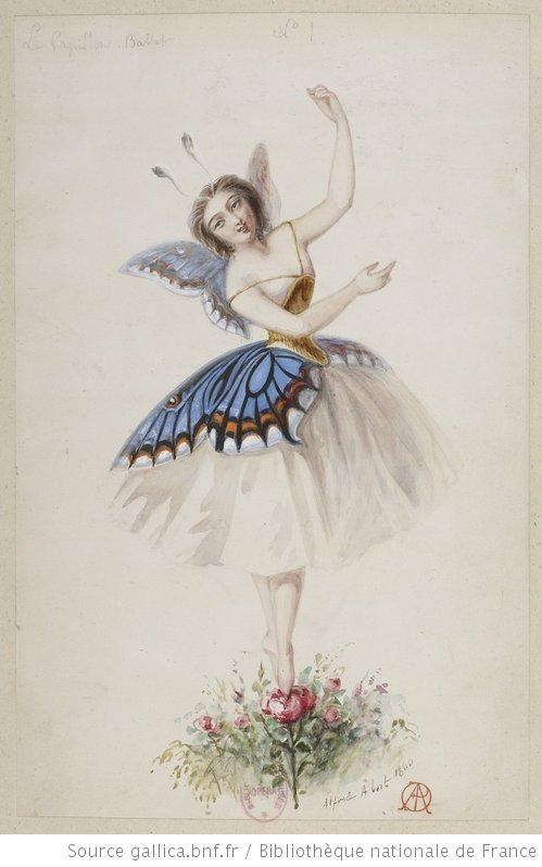 Le Papillon | Douze Maquettes |  Alfred Albert | 1860 | Costume Illustration