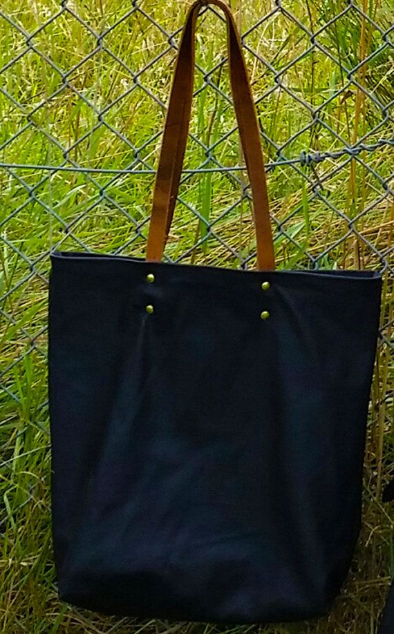 black leather tote bag with tan leather handles by AGOODHIDING, £60.00