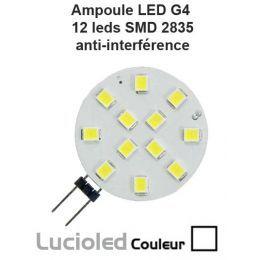 Ampoule G4 12 Leds SMD anti-parasite Lumière du jour (side) (12V/24V)