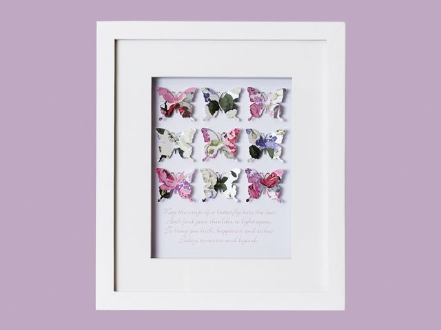 Personalised Baby Butterfly Art Gift
