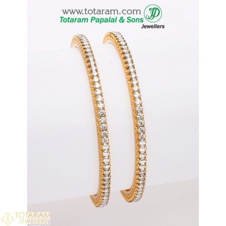 18K Gold Diamond Bangles - Set of 2 (1 Pair)  - 235-DBL137 - Buy this Latest Indian Gold Jewelry Design in 42.100 Grams for a low price of  $9,753.40 #GoldJewelleryIndian