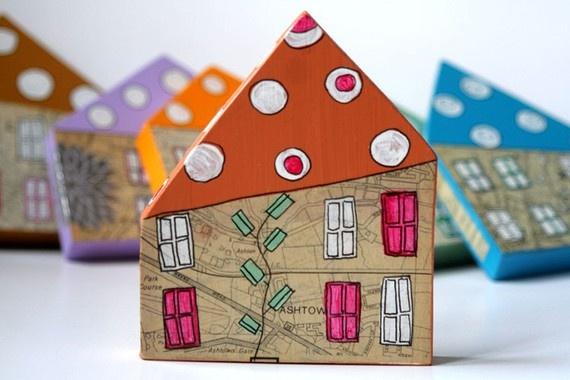 handmade mixed media houses from irisoconnor (etsy)  http://www.etsy.com/shop/irisoconnor #crafts #art