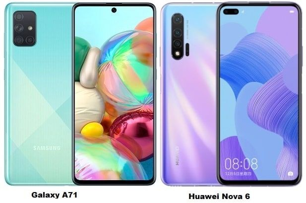 Compare Samsung Galaxy A71 Vs Huawei Nova 6 Samsung Galaxy Huawei Samsung