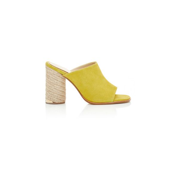Paloma Barcelo Flora Yellow Suede Mules (1 645 SEK) ❤ liked on Polyvore featuring shoes, suede espadrilles, suede mules, paloma barcelo espadrilles, suede leather shoes and yellow espadrilles