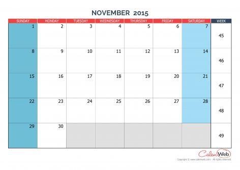 56 best November 2015 Calendar images on Pinterest Words - note taking template microsoft word