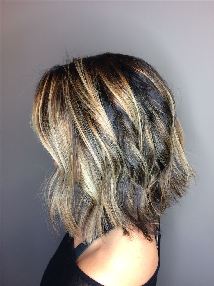 Dimensional balayage on shoulder length bob with textured wave