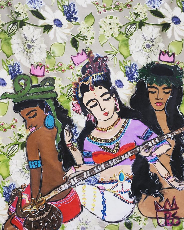 "(@artistlbs) on Instagram: ""Mis Tres Diosas 3.5 ft x 5 ft Acrylic on Fabric (IxChel, Saraswati, Pele) #goddesses #tapestry #artbylbs #painting"