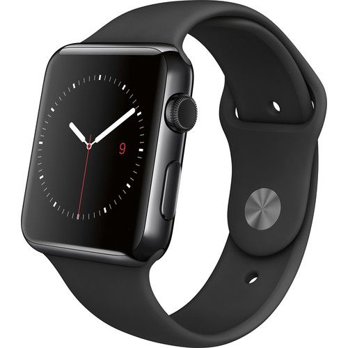 Apple - Apple Watch 42mm Space Black Stainless Steel Case - Black Sport Band