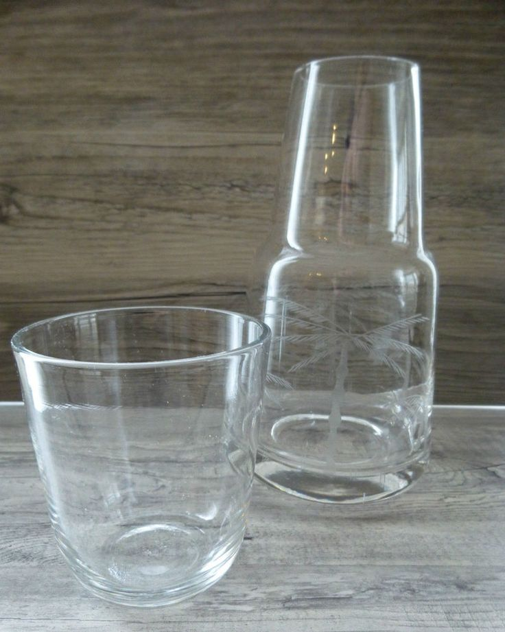 Etched Palm Tree Glass Carafe & Cup Bedside Coastal Tropical Beach Home #Unbranded