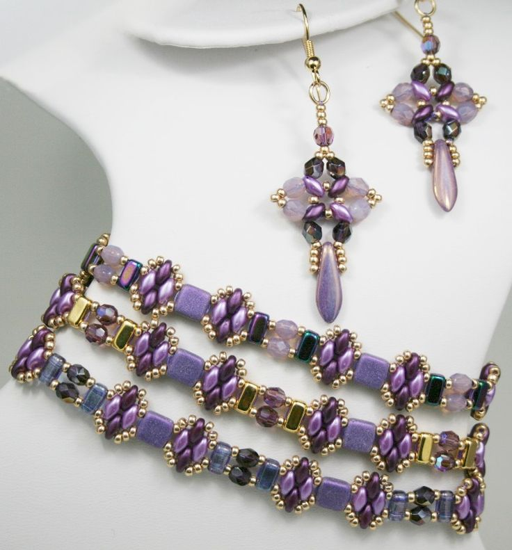 Deb Roberti's FREE Stackers Bracelet Pattern and her Any Bead Earrings Pattern done in Radiant Orchid for Spring 2014
