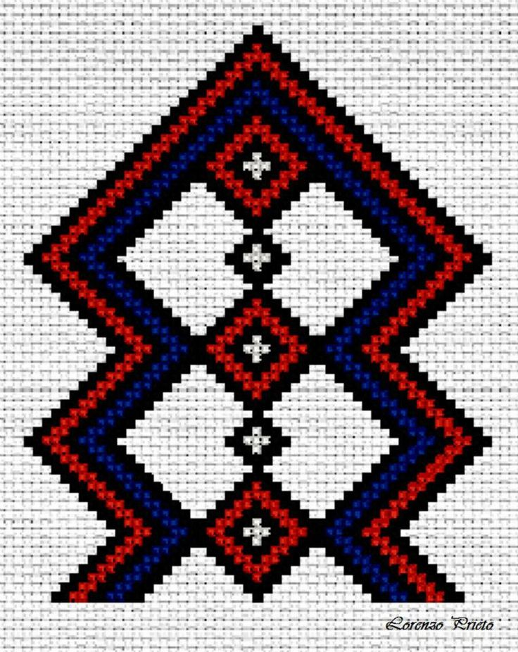 Motivo geométrico wayuu tradicional.