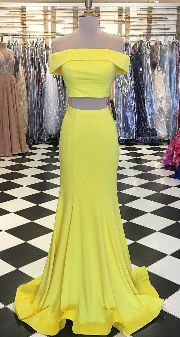 2018 two piece prom dress, yellow mermaid long prom dress, off the shoulder prom dress, graduation dress, formal evening dress