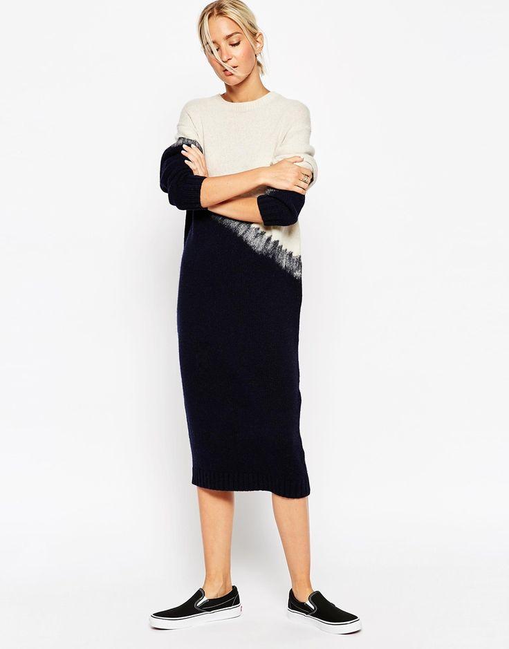Bild 1 von ASOS WHITE – Gefilztes mittellanges Pulloverkleid