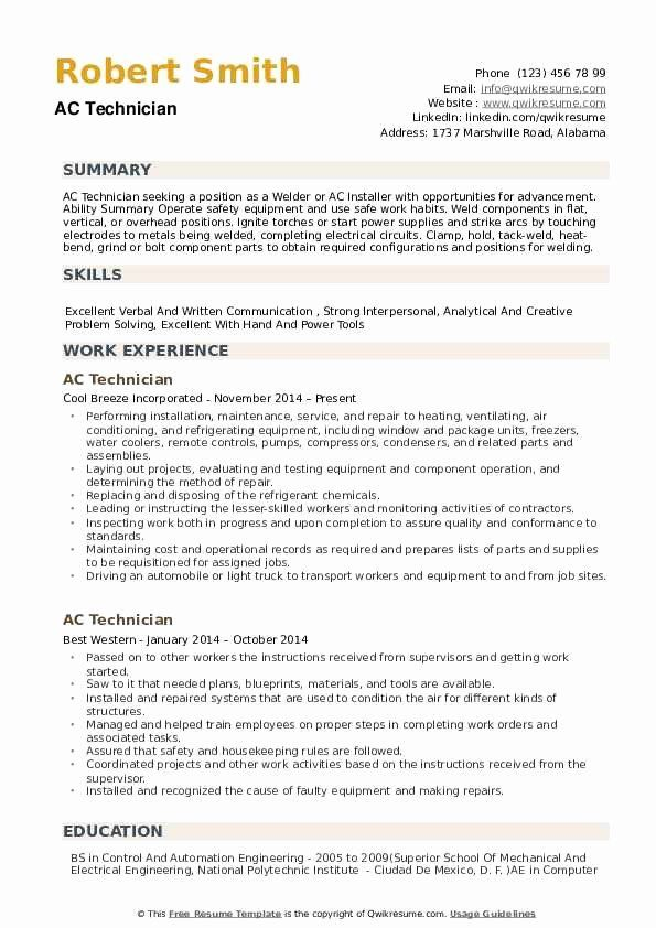 A C Technician Resume Examples Resumeexamples Resumetipsobjective Sample Resume Templates Resume Examples Sample Resume
