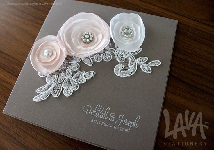 Lace and poppy flower wedding invitation by www.lavastationery.com.au