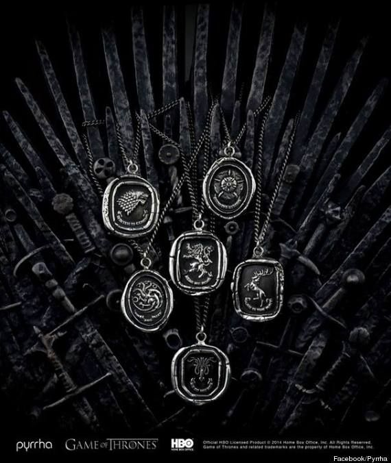 """""""Game of Thrones"""" fans will be able to wear their love for the HBO show when an official line of jewelry - designed by Vancouver-based brand Pyrrha - debuts next month. (April 2014)"""" ~ """"Each talisman will include an """"interpretation of the sigils of the powerful houses of Westeros : Targaryen, Stark, Baratheon, Tyrell, Lannister & Greyjoy,"""" stated a press release on Thursday. (A sigil is a magical emblem or symbol.)"""""""