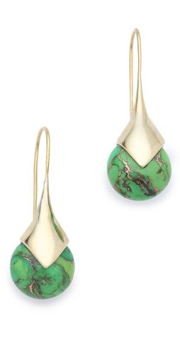 I absolutely love these: Clean lines + real stone + polished silver + my Fave color! Would be even better in gold!