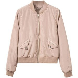 Khaki Zip Up Long Sleeve Bomber Jacket